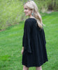 Flowing Long Sleeve Black Dress - Amore Clothing - 3