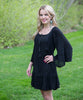 Flowing Long Sleeve Black Dress - Amore Clothing - 1