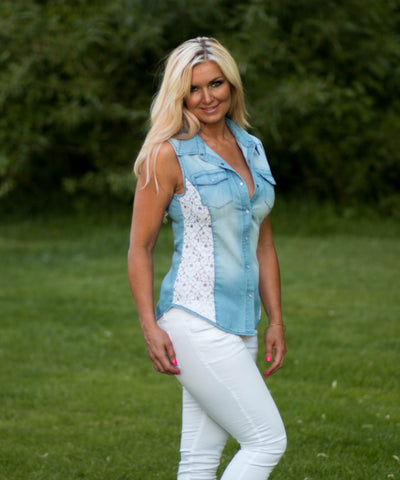 Light Wash Denim Lace Button Top - Amore Clothing - 2