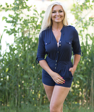 Navy Blue Button Romper -  - 1