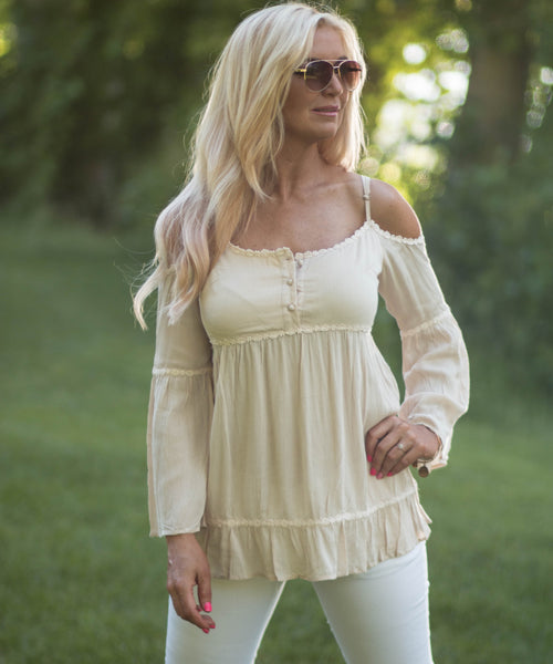 Off the Shoulder Long Sleeve Baby Doll Top -  - 1