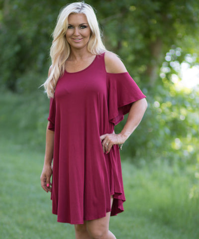 Open Shoulder Draped Tunic Style Dress -  - 1