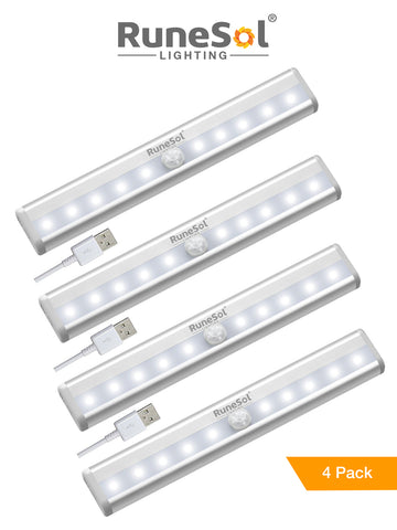 RuneSol® 4 Pack Motion Sensor 10 LED Rechargeable Light Bar | Sensor Wardrobe Light |Portable LED Closet Night Light with Stick-On Magnetic Strip for Wall Closet Cabinet | Stairs and Drawer Light