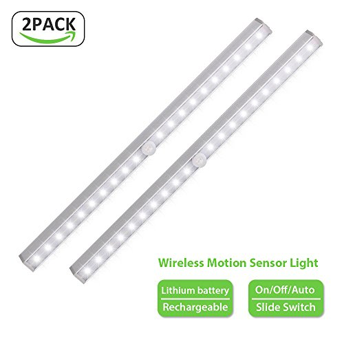 RuneSol® 2 Pack Motion Sensor 20 LED Rechargeable Light Bar | Sensor Wardrobe Light |Portable LED Closet Night Light with Stick-On Magnetic Strip for Wall Closet Cabinet | Stairs and Drawer Light