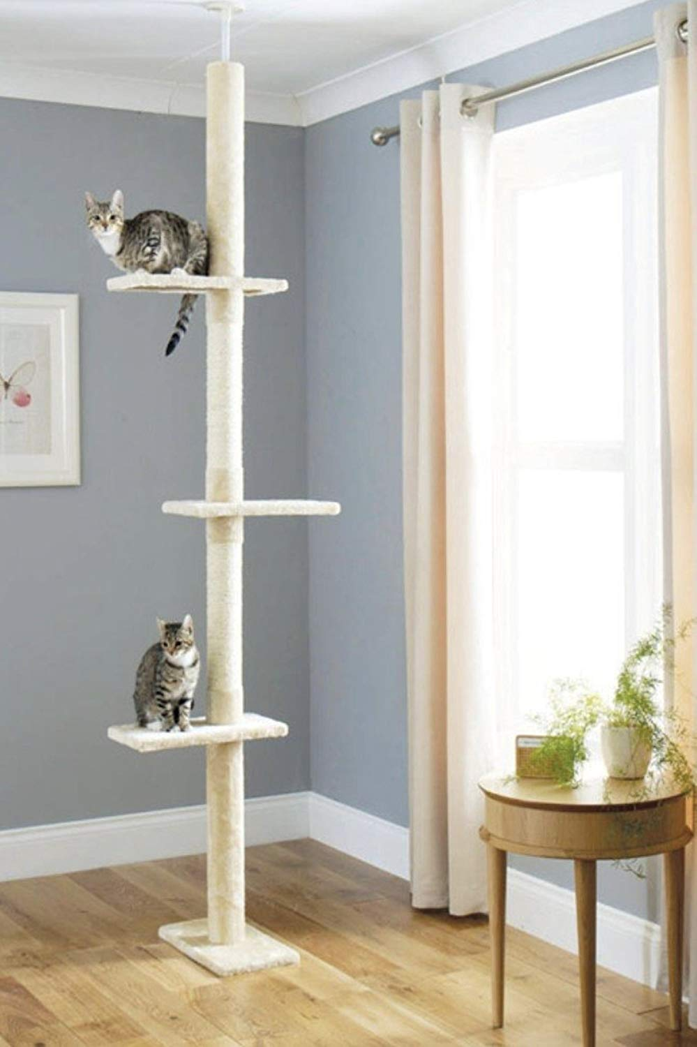 Cat Scratch Post Tree Floor to Ceiling 240cm-288cm (Please Measure Your Ceiling) | X-Large Luxury Cat Activity Scratching Tree | Includes 3 Scratch Twine Posts | Big Cat Tree That Extends If Needed