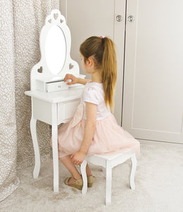 Girls Dressing Table With Stool and Mirror | Small Kids Vanity Table Ideal for Girls 3-7 Years | Childrens White Wooden Makeup Dressing Table With 3 Drawers, Heart Shape Design and Crystal Knobs