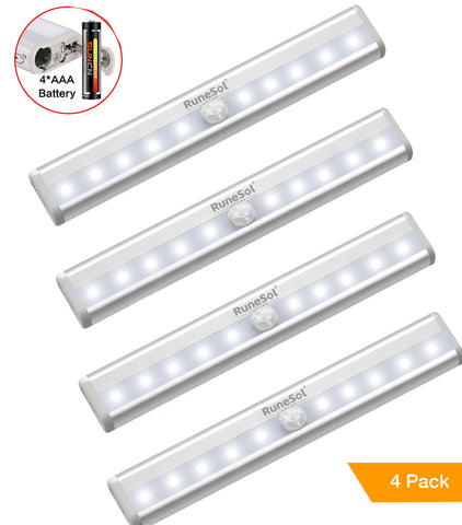 RuneSol® 4 pack Motion Sensor 10 LED Light Bar | Sensor Wardrobe Light, Portable Wireless Battery Operated LED Closet Night Light with Stick-On Magnetic Strip, Auto On/Off Stick-On Anywhere For Wall Closet Cabinet, Stairs, Drawer, Wardrobe, Pure White