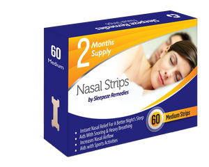 60 Medium Nasal Strips - Stop Snoring and Breathe Better - Best Snore Cure