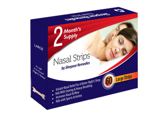 60 Large Nasal Strips by Sleepeze Remedies - Supports Snoring Problems