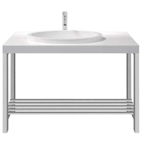 Metro Offset Oval Basin with Console Stand - Waterbury Design Works
