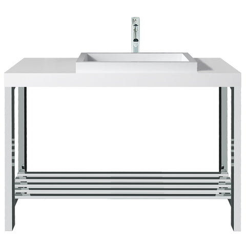 Metro Offset Rectangular Basin with Console Stand - Waterbury Design Works