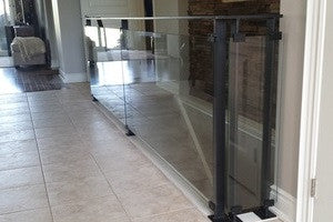 Glass Railing with Flat Bar Handrail