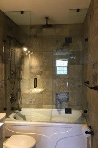 Shower Enclosure with Glass Center Door