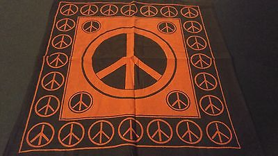 "18"" x 18"" PEACE SIGN Red Hippie Cotton Cloth HENNA ARTIST TOTE BAG ~ India"
