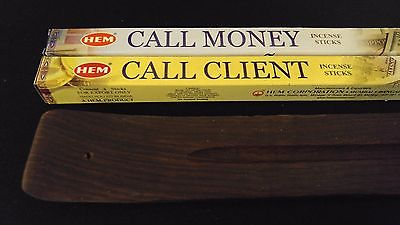 Call Client / Call Money & Wooden Burner = 16 Sticks HEM Incense Sampler ~ India