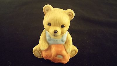 "Mini Teddy Bear Porcelain Figurine ""Overalls Toy Car Bear"" HOMCO"