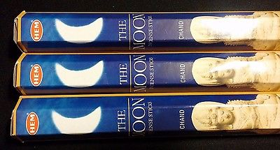 THE MOON 3 Boxes of 20 = 60 HEM Incense Sticks Bulk Fragrance ~ India