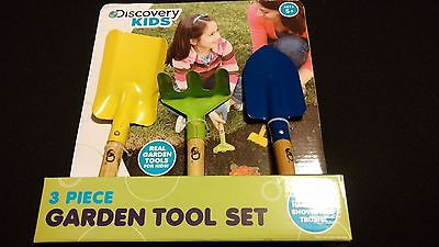 Discovery Kids 3 Piece Real Garden Planting Farmer Tools Hand Rake Shovel Trowel