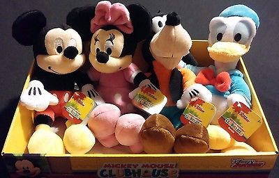 4pc Set Disney Mickey Mouse Minnie Goofy Donald Soft Bean Bag Plush Toys Display