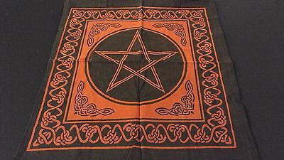 "18"" x 18"" PENTACLE STAR Red Hippie Cotton Cloth HENNA ARTIST TOTE BAG ~ India"