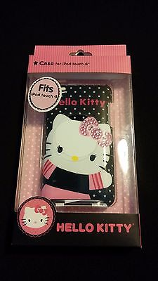 Hello Kitty Case for Ipod Touch 4 Audio Player Pink Sequin Bow Outfit Black Case
