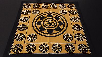 "18"" x 18"" LOTUS OM Gold Hippie Cotton Cloth HENNA ARTIST TOTE BAG ~ India"