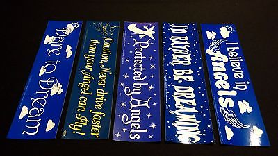5 Pack Standard Size ANGELS / DREAMS Theme Bumper Stickers - VINYL DECAL