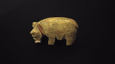 "HIPPO Spirit Animal Totem Hand Carved Dolomite Stone 1.25"" Pocket Figurine Peru"