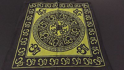 "18"" x 18"" OM CHAKRA Green Hippie Cotton Cloth HENNA ARTIST TOTE BAG ~ India"
