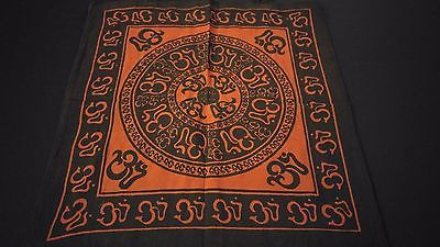 "18"" x 18"" OM CHAKRA Red Hippie Cotton Cloth HENNA ARTIST TOTE BAG ~ India"