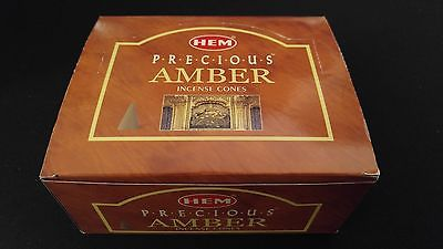 AMBER 12 Boxes of 10 = 120 HEM Incense Cones Bulk Case Retail Display