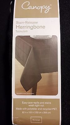 "Black Canopy Tablecloth Stain Release Easy Care Herringbone 60"" x 102"" Rectangle"