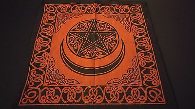 "18"" x 18"" PENTACLE MOON Red Hippie Cotton Cloth HENNA ARTIST TOTE BAG ~ India"