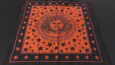 "18"" x 18"" SUN & MOON Red Hippie Cotton Cloth HENNA ARTIST TOTE BAG ~ India"