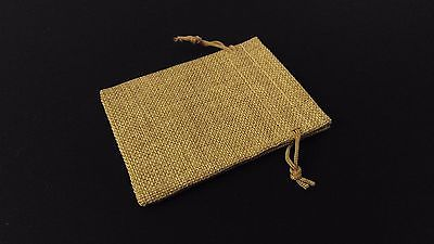 10pc TAN Burlap Cloth Drawstring Gift Bags Party Wedding Favors 9X12CM