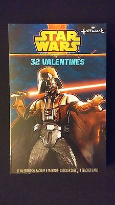 VALENTINES DAY CARDS Box of 32 Star Wars Darth / Stickers Poster Classroom Pack