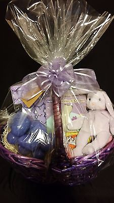 Deluxe Spring / Easter Gift Basket + Candy + TY Beanie Floppity Bunny Purple