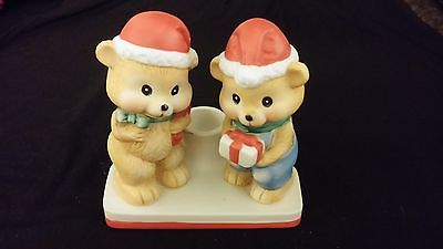 Santa Hat Bears w/ Candle Stick (Taper) Holder - Porcelain - MERRY CHRISTMAS