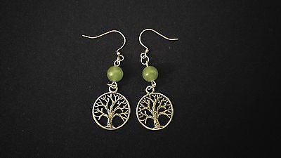 CELTIC EARRINGS Green Aventurine Gemstone Tree Of Life [WEALTH]