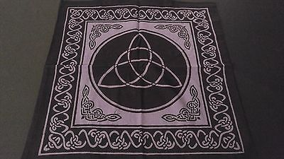 "18"" x 18 CELTIC TRIQUETRA Purple Hippie Cotton Cloth HENNA ARTIST TOTE BAG India"