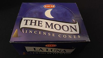 THE MOON 12 Boxes of 10 = 120 HEM Incense Cones Bulk Case Retail Display