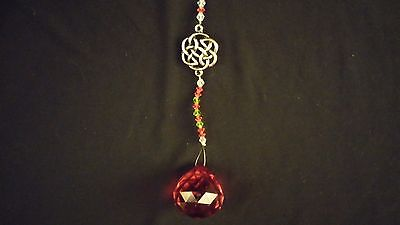 Wire Hanging Crystal Ruby Red Beaded w/ Celtic Charm Car Mirror ~ India