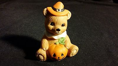 Pilgrim Pumpkin Teddy Bear Porcelain Figurine Collectible [HOMCO] THANKSGIVING