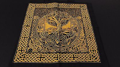"18"" x 18"" TREE OF LIFE Gold Hippie Cotton Cloth HENNA ARTIST TOTE BAG ~ India"