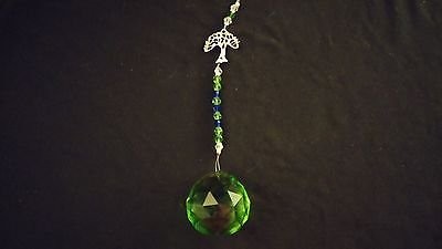 Wire Hanging Crystal Celery Green Beaded w/ Tree Of Life Charm ~ India