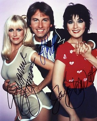 THREES COMPANY 8x10 Color Cast Signed Reprint Photo TV Television Memorabilia