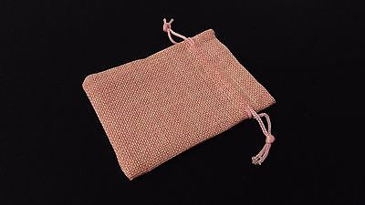 10pc BABY PINK Burlap Cloth Drawstring Gift Bags Party Wedding Favors 9X12CM
