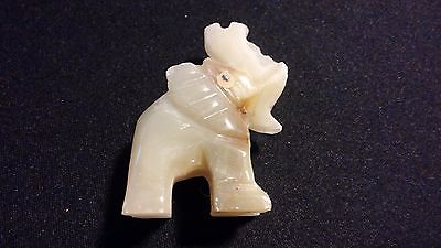 "ELEPHANT Spirit Animal Totem Carved Green Onyx Gemstone 2"" Pocket Figurine India"