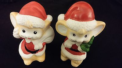 Mouse Boy & Girl Set In Santa Suits - Porcelain [HOMCO] MERRY CHRISTMAS