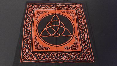 "18"" x 18"" CELTIC TRIQUETRA Red Hippie Cotton Cloth HENNA ARTIST TOTE BAG ~ India"